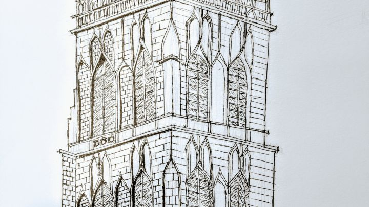 Gothic Cathedral Pen Sketch